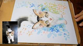 三毛猫の赤ちゃんの似顔絵