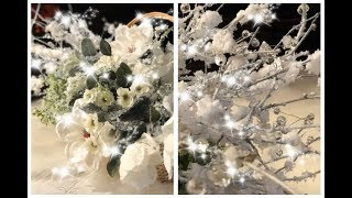 *DIY- HOW TO FLOCK CHRISTMAS TREE FLORALS & GLAM ICY BRANCHES *