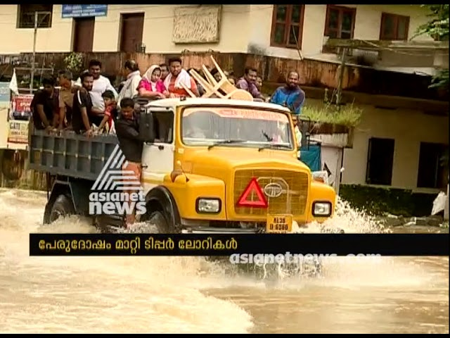 Tipper lorry and drivers rescued flood victims at Vaikom