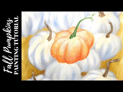 White & Orange Pumpkins Acrylic Painting Tutorial | Easy Halloween Art for Beginners thumbnail