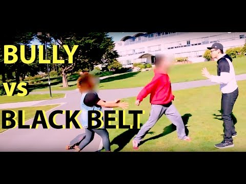 BOOSTED BOARD BLACK BELT IN TAEKWONDO KOs BULLY  *staged*