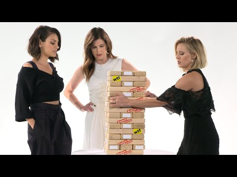 Thumbnail: Kristen Bell & the cast of A Bad Moms Christmas play Truth or Dare Jenga