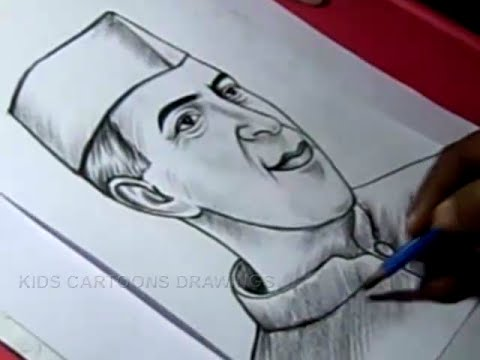 How to Draw PANDIT NEHRU Drawing Step by Step For Kids in Telugu