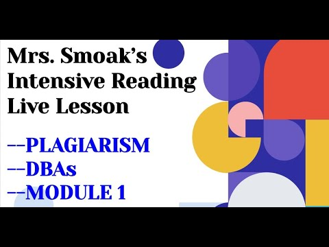 Clay Virtual Academy FLVS Intensive Reading Module 1 Live Lesson (Anne Smoak)