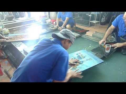 Vietnamese Lacquer Painting Art South Vietnam