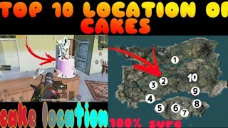 PUBG MOBILE|| TOP 10 LOCATION OF 2ND ANNIVERSARY CAKE IN PUBG/ GET #1/100 TITLE EASILY