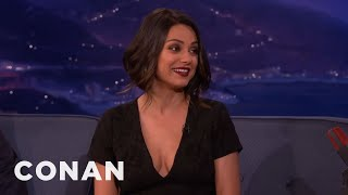 Mila Kunis Can't Deal With Her New Boobs  - CONAN on TBS
