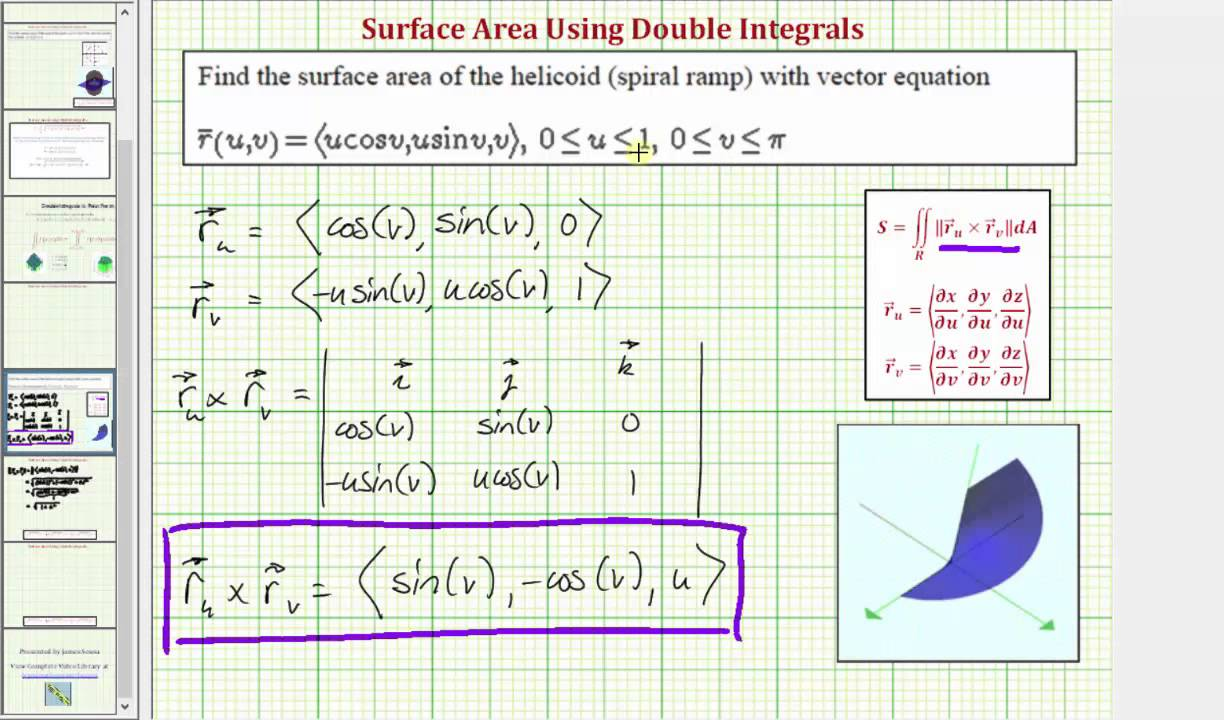 Double Integrals  Surface Area Of A Vector Valued Function Over A Region