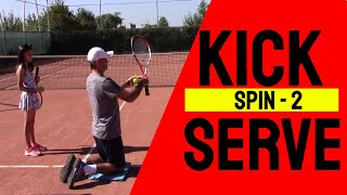 Tennis Lesson: Learning the Kick Serve Spin (on the knees)
