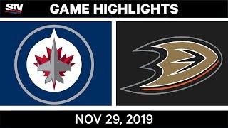 NHL Highlights   Jets vs. Ducks – Nov. 29, 2019