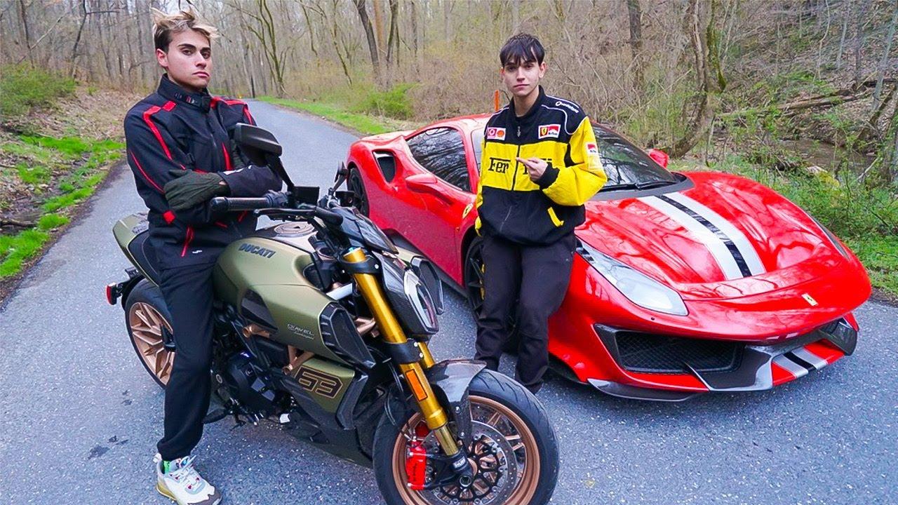 WE RACED! (Lamborghini Ducati Bike vs Ferrari 488 Pista)
