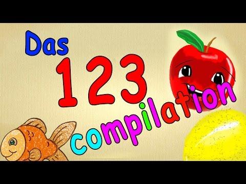 Zahlen lernen für Kleinkinder deutsch - 123 compilation Lied-Mix - zählen von 1 - 10