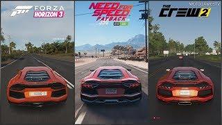 Forza Horizon 3 vs Need for Speed Payback vs The Crew 2 - Lamborghini Aventador Sound Comparison