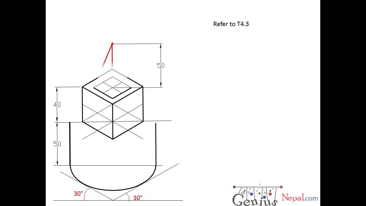 Engineering Drawing Tutorials/Pictorial drawing with front