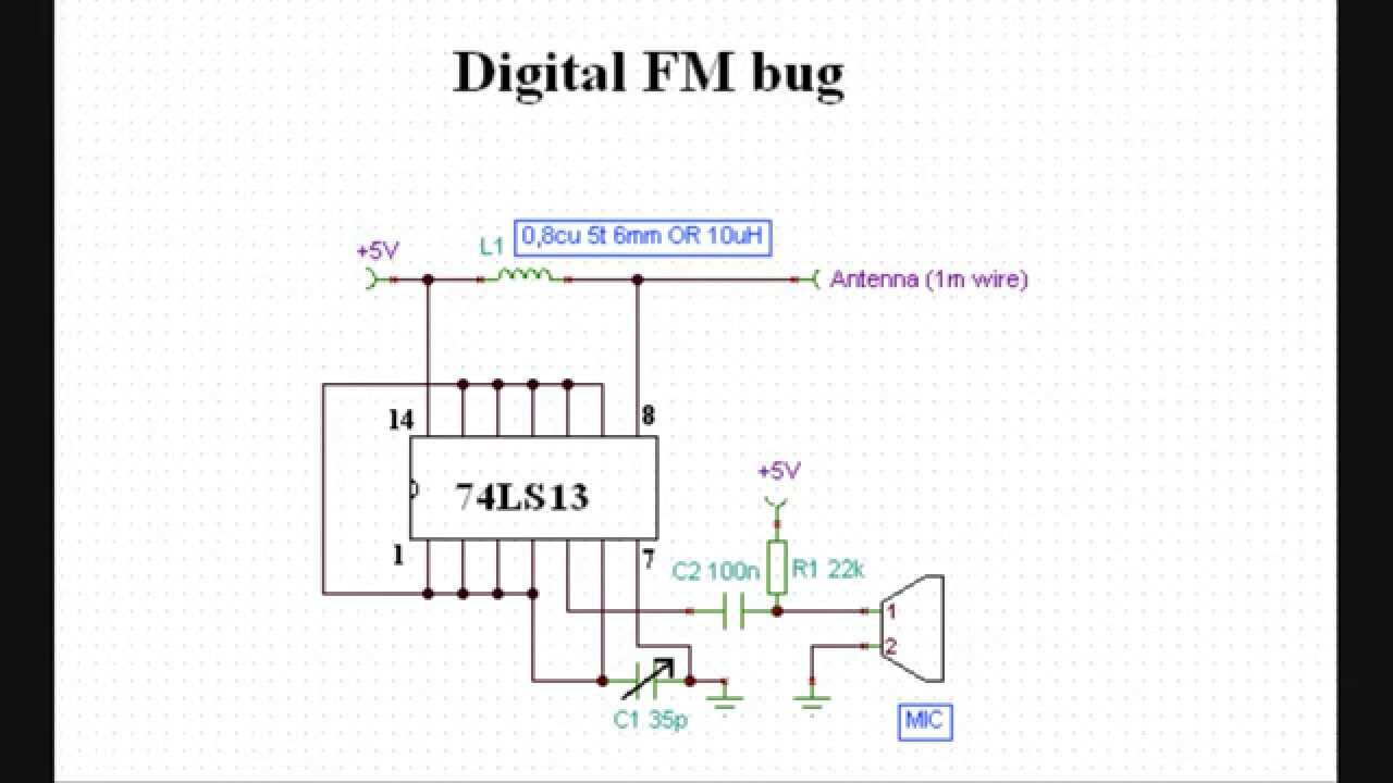 world s simplest digital fm bug transmitter circuit diagram youtube rh youtube com