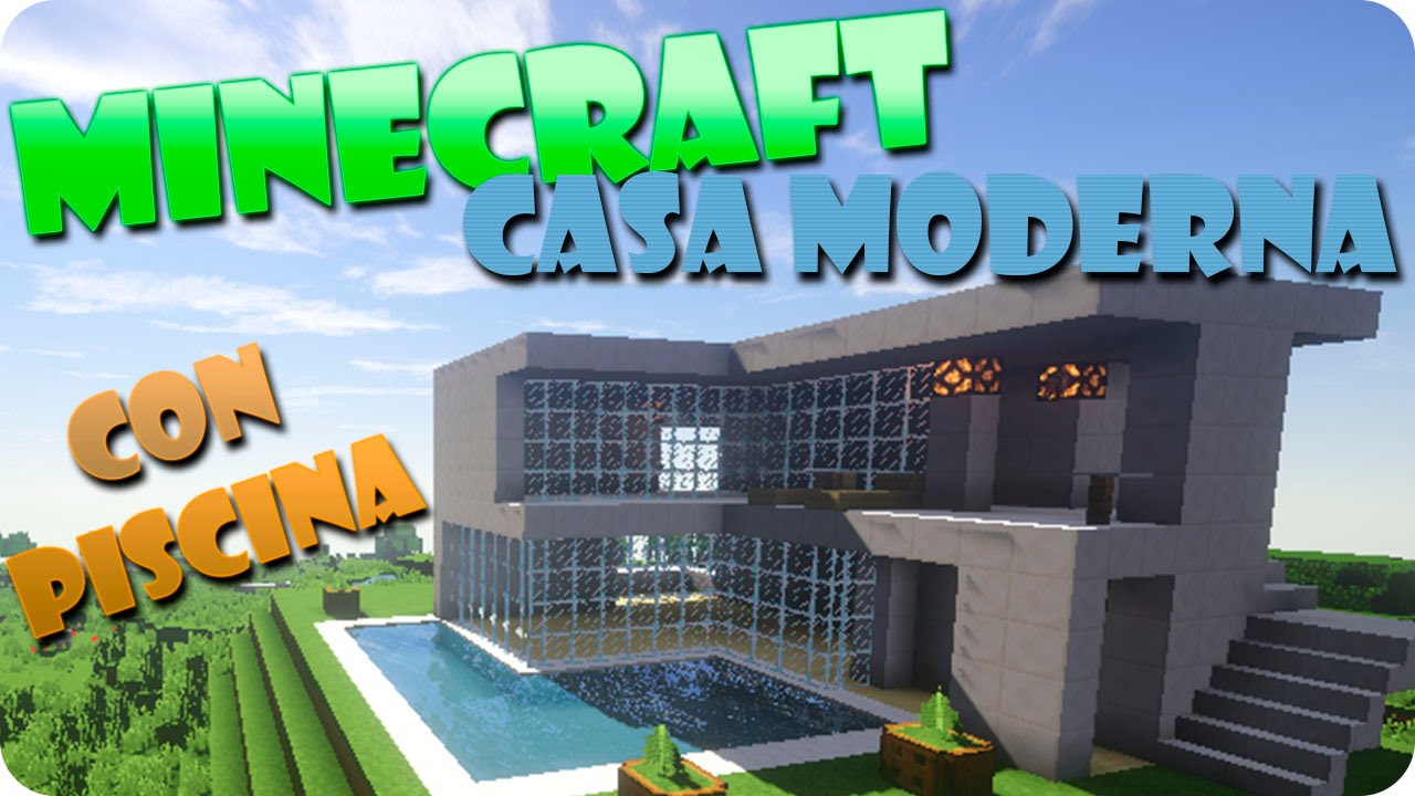Minecraft como hacer una casa moderna con piscina youtube for Piscinas modernas