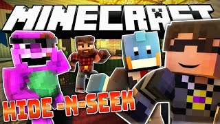 Minecraft ROOM MATES Hide N Seek | BARNEY BREAKS THE HOUSE?! (Roleplay MiniGame)