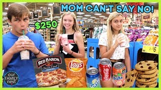 MOM CAN'T SAY NO WHILE SHOPPING! $250 ON JUNK FOOD!