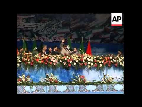 WRAP Ahmadinejad''s Speech On Anniv Of Revolution, Crowds, Security, Vox Pops