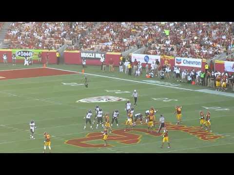 George Uko sacks Sean Schroeder Hawaii vs. USC Football 2012 Los Angeles Memorial Coliseum