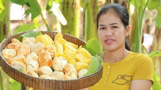 Cooking Palm Fruit Desert W/ Sticky Rice Delicious- Palm Fruit Recipe  -Village Food Factory