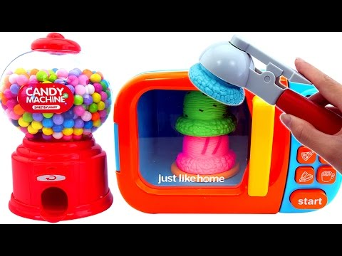 Thumbnail: Microwave Just Like Home Candy Machine Ice Cream Learn Colors Hand Body Paint Finger Family