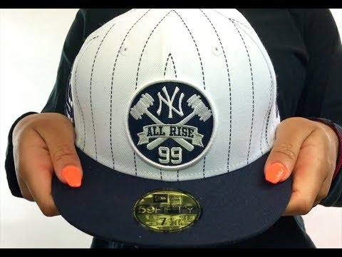 01ea670eb Yankees  JUDGE PINSTRIPE ALL RISE FRONT  White-Navy Fitted Hat by New Era