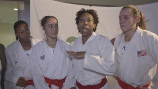 Egypt and USA Kumite team celebrate their medals at Karate World Championships