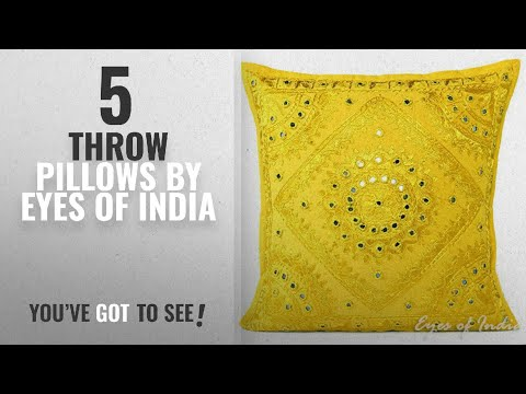 """Top 10 Eyes Of India Throw Pillows [2018]: EYES OF INDIA - 16"""" Yellow Mirror Embroidered Decorative"""
