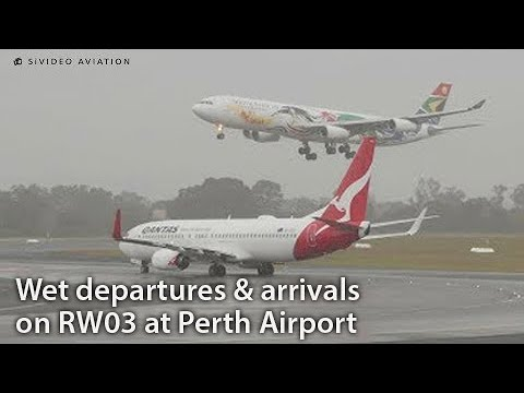 Wet Departures And Arrivals At Perth Airport.