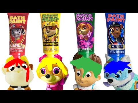 Best Learning Colors Video for Children  - Paw Patrol Bath Paint and Toys