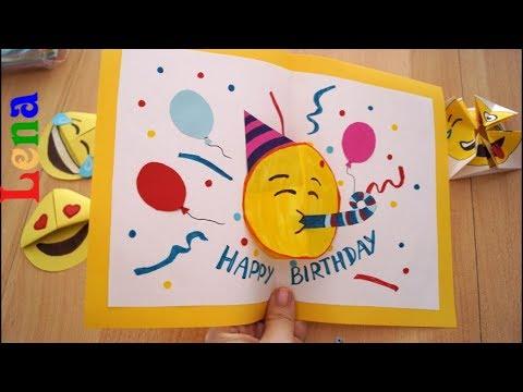kreativ-with-lena-geburtstagskarte-basteln-🎉-😉-diy-emoji-birthday-card-diy-🎈Эмоджи-открытка