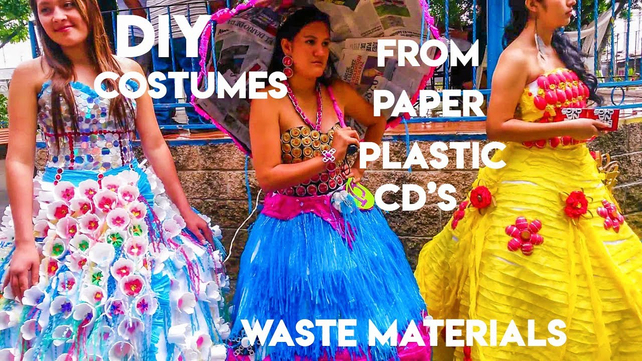 DIY Costumes (Recycled and Reused) made of PAPER, PLASTIC, CD\u0027s, and other  Waste Materials