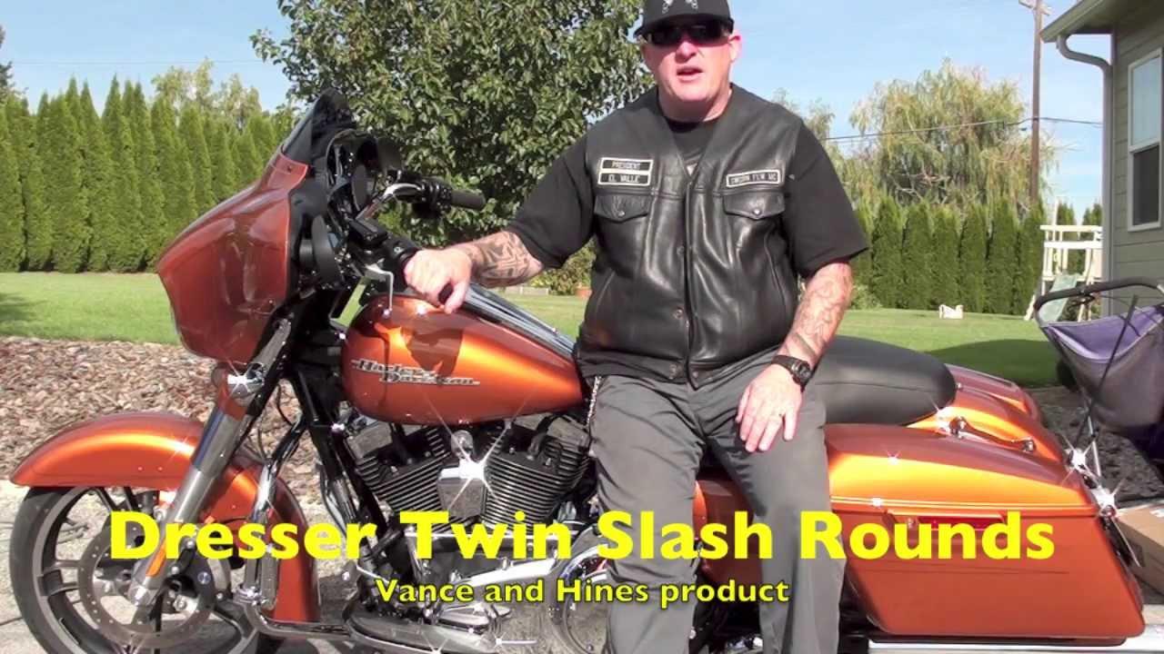 Vance & Hines Dresser Twin Slash Rounds Slip-ons Mufflers Harley Davidson  Touring | Biker Podcast