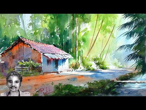 Scenery Drawing with Watercolor Painting for Beginners