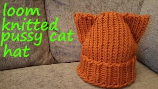 Loom Knitted Cat Hat