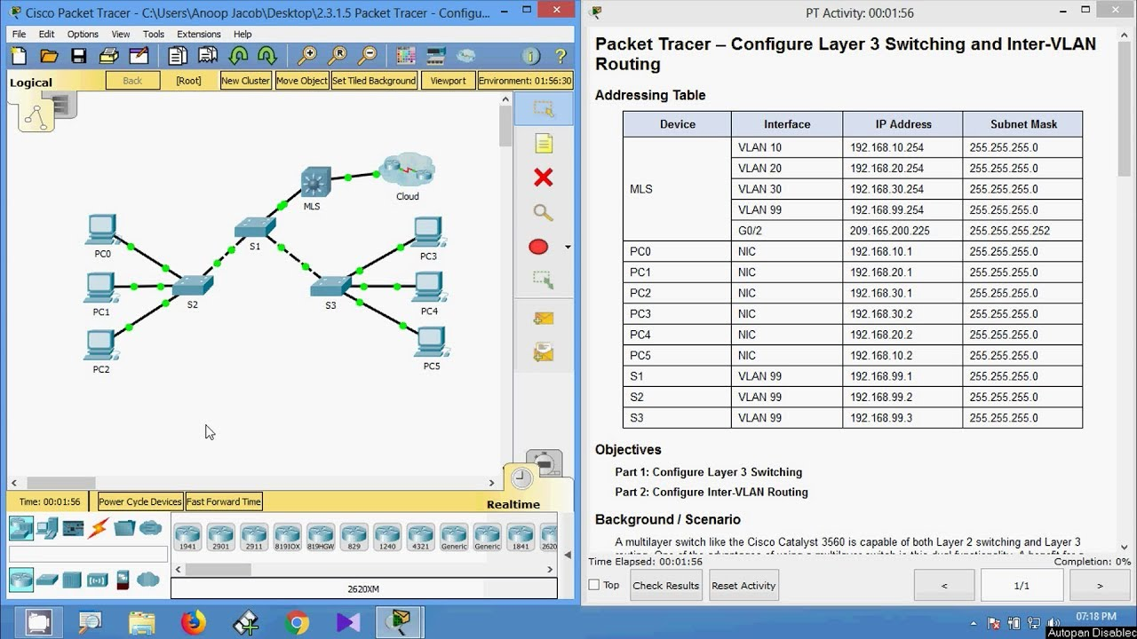 2 3 1 5 Packet Tracer - Configure Layer 3 Switching and inter VLAN Routing