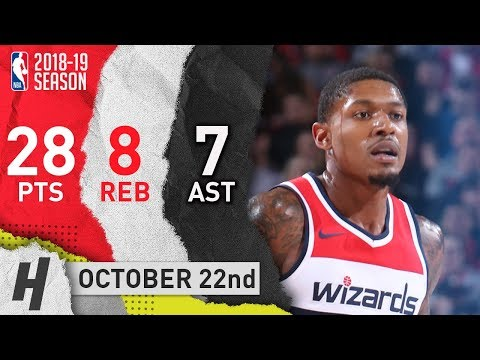 Bradley Beal Full Highlights Wizards vs Blazers 2018.10.22 - 28 Pts, 8 Reb, 7 Ast!