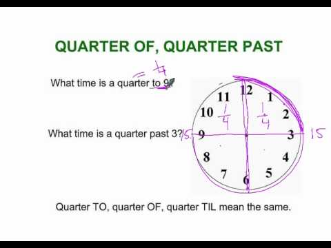 Quarter of, Quarter Past: Tutorial on Telling Time - YouTube