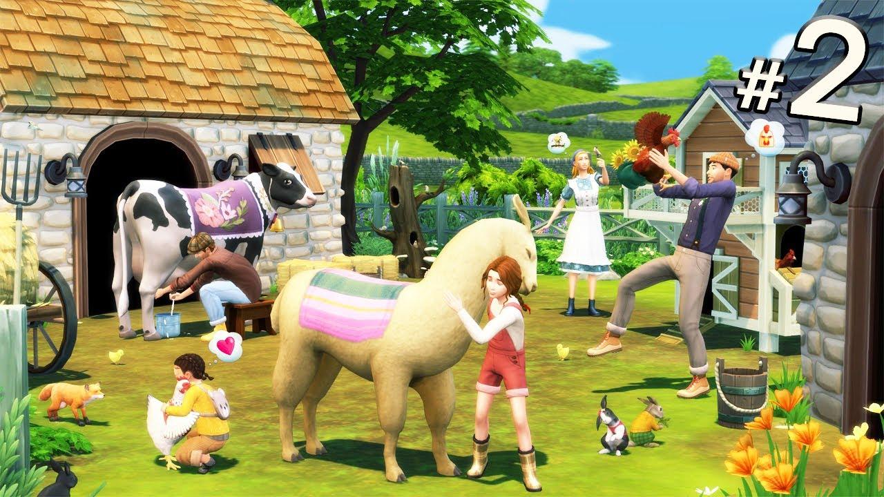 The sims 4 Cottage living #2 รีดนมวัวครั้งแรก! ไม่ง่ายเลย