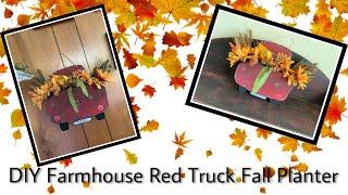 DIY farmhouse red truck fall planter