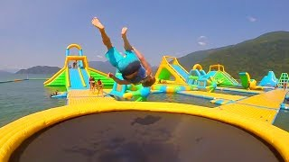 FLIPS AT TRAMPOLINE PARK ON THE WATER!