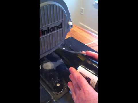 Cutting a Wine Bottle w/ Inland Diamond Band Saw