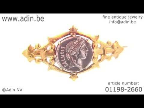 Antique silver Roman coin mounted in antique Victorian brooch. (Adin reference: 01198-2660)