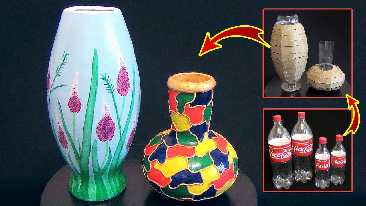 DIY Amazing Flower Vase  How to make flower vase from plastic bottle and  paper clay