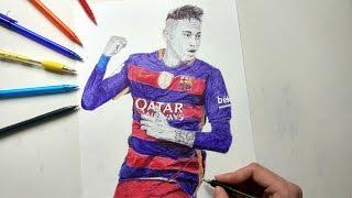 Neymar Jr Pen Drawing - FC Barcelona