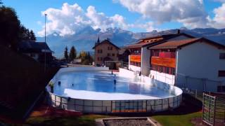 glice synthetic ice rink in swiss ski resort
