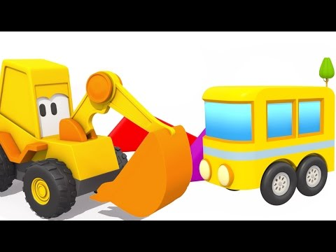 Мультфильмы 3D. Экскаватор Мася и Автобус. Мультик конструктор