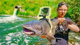I Strapped A GoPro To a Catfish!!! (Underwater Spillway Footage)