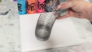 Fluid art acrylic pouring with a SLINKY - satisfying fluid painting technique for beginners